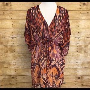 Cabi sheer boho beach tunic, size small
